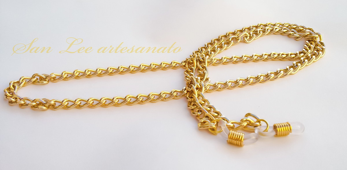 5a63d2674d8c segura óculos corrente dourada no Elo7 | San Lee artesanato (CFFF0D)