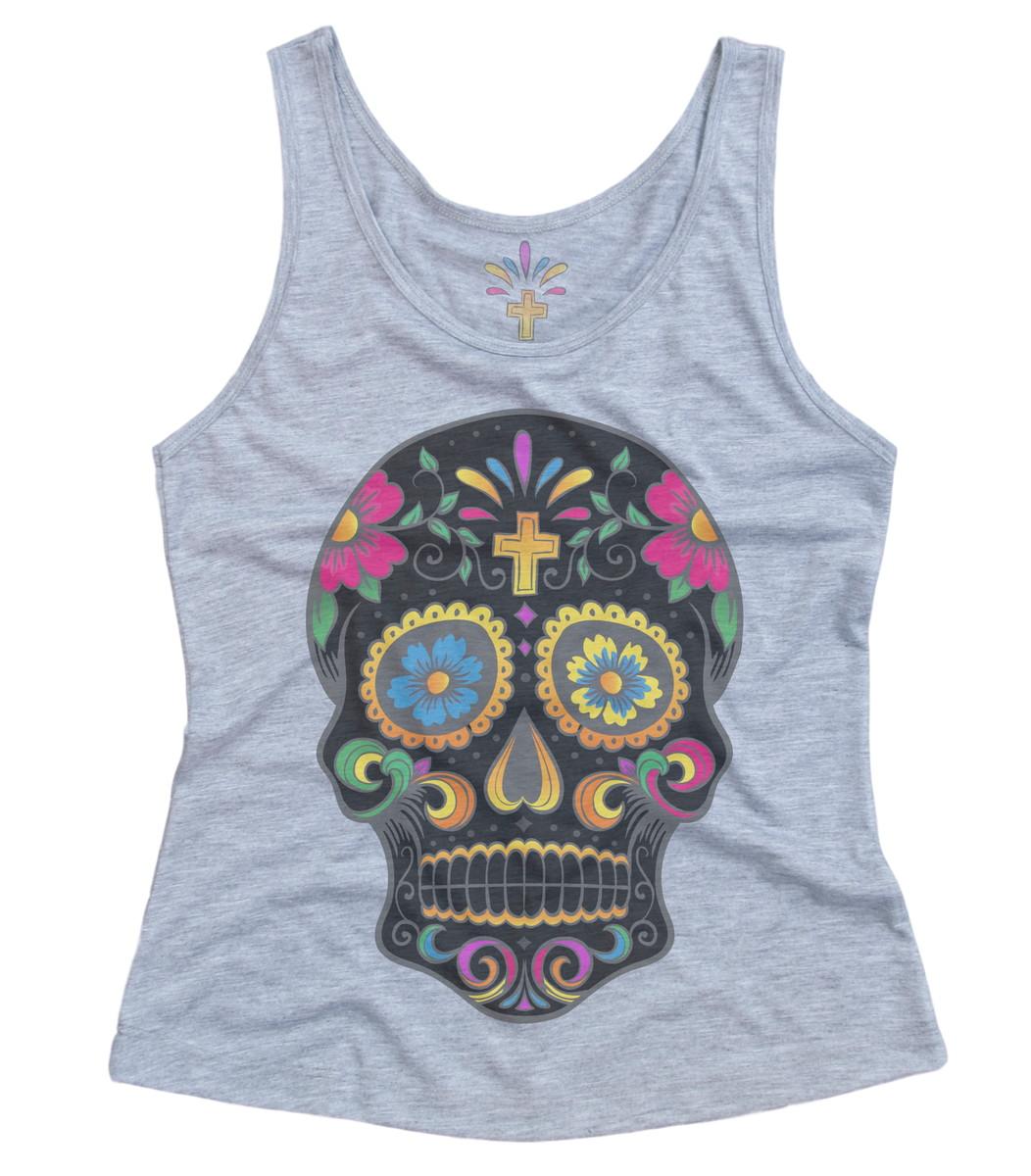 64b60fd80 Camiseta Regata Feminina Caveira Mexicana Skull Black no Elo7 ...