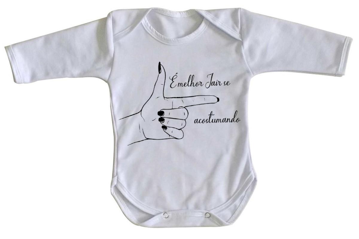 59e7e45d8e body Manga Longa Criança Roupa Bebê Bolsonaro mão feminina no Elo7 ...