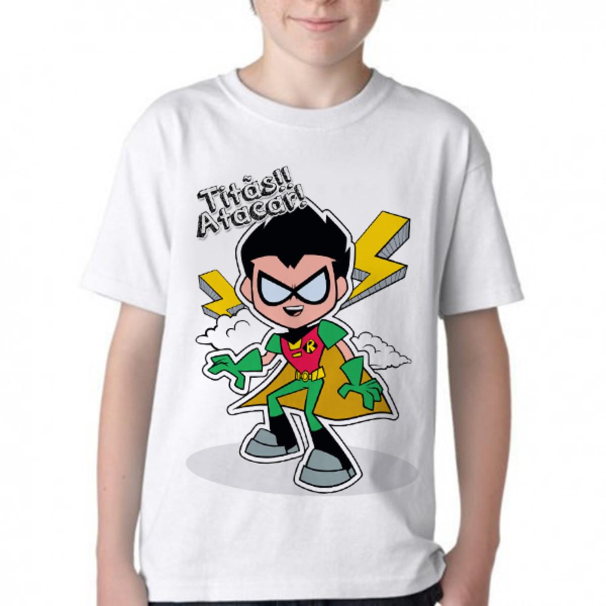 e2ad923e7f Camiseta Infantil Blusa Criança Robin Titãs em ação titan go no Elo7 ...
