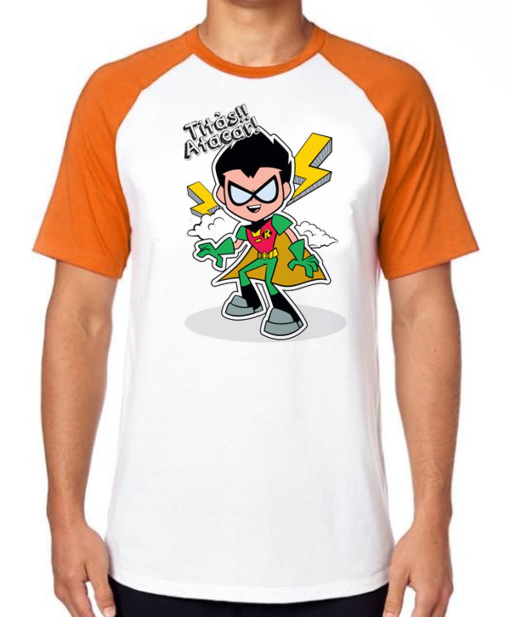 78d71ef77c Camiseta Raglan Camisa Blusa Robin jovens Titãs em ação no Elo7 ...