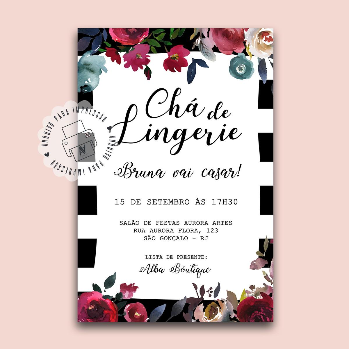 9ae0eae316 Convite Chá de Lingerie - Floral - Arte digital no Elo7