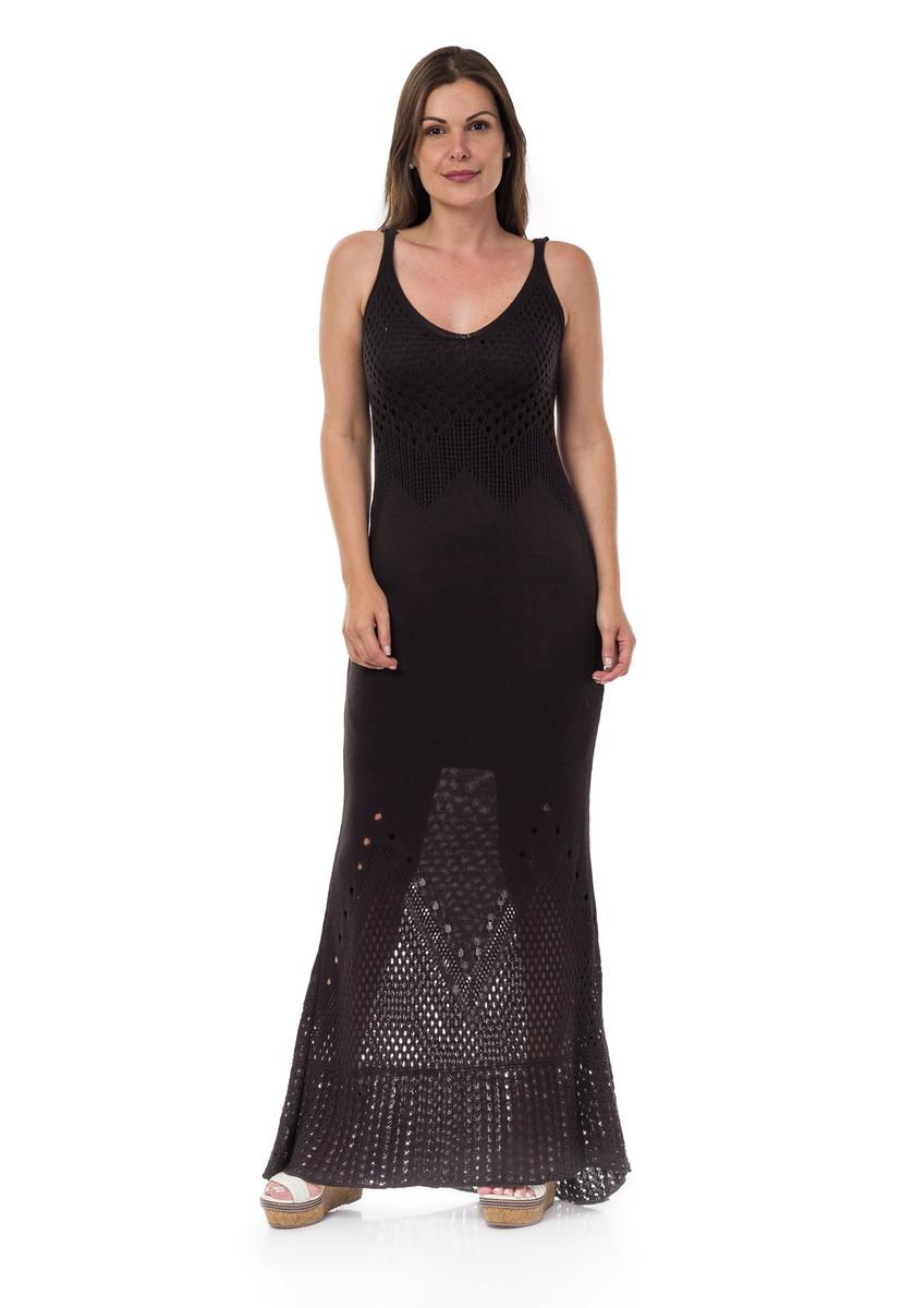 c6fb0c566d Vestido Longo Feminino de Tricot Rendado Preto 04783 no Elo7