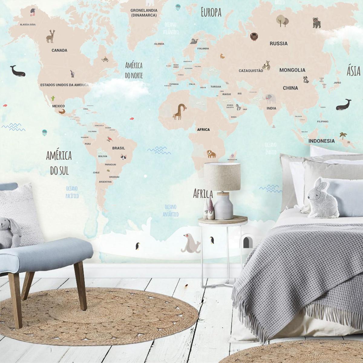 Mural adesivo mapa mundi infantil 2 32 x 3 00m no elo7 - Mural mapa mundi ...
