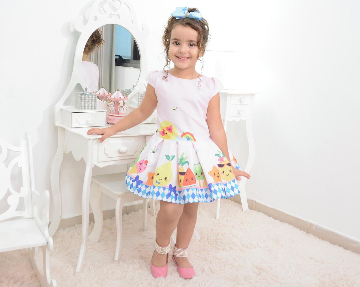 896bf7834 Vestido festa infantil das frutas, abelhinhas e sorvetes no Elo7 ...