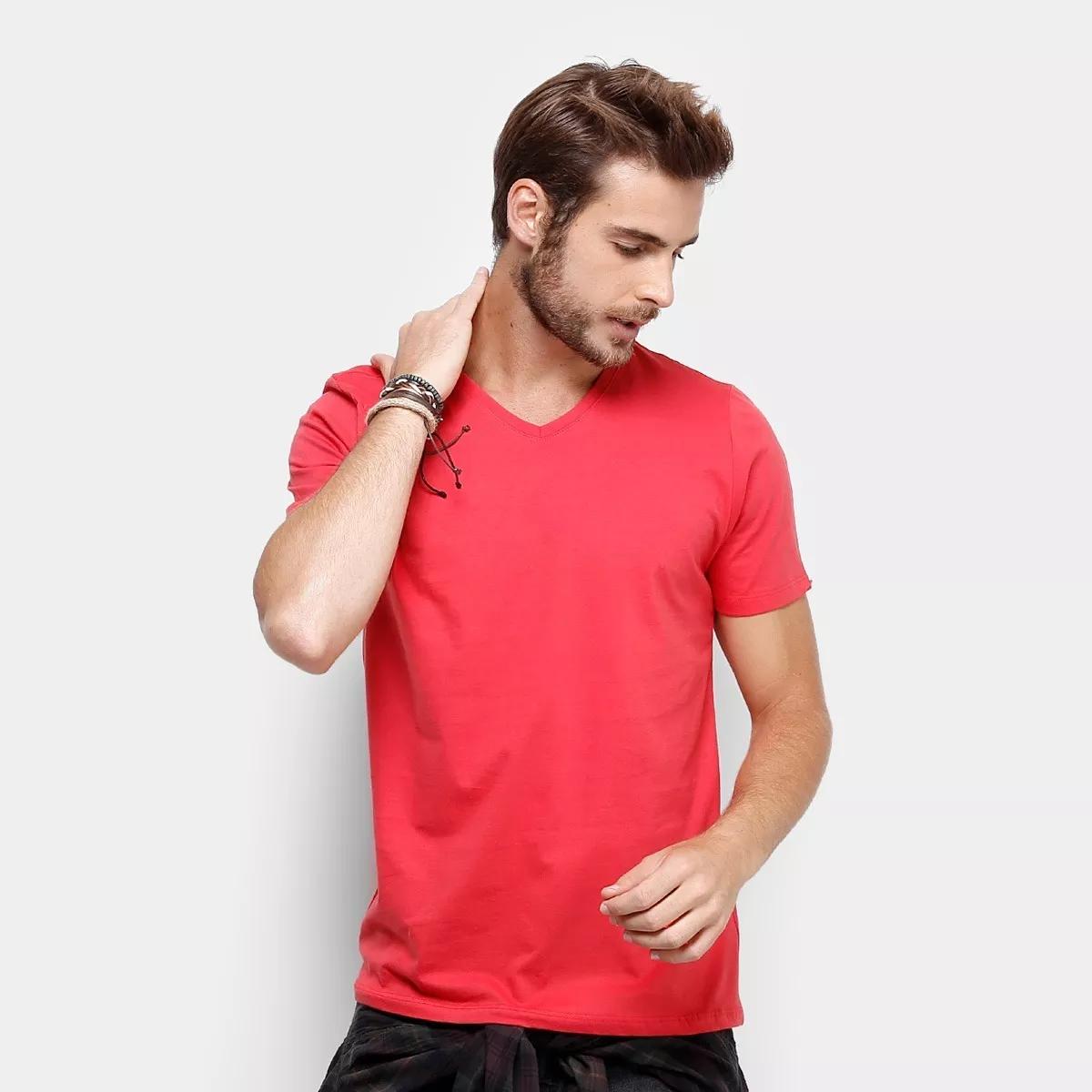 768d39bee5 Camiseta Gola V 100% Algodão Sem Estampa Fio 30.1 Vermeho no Elo7 ...