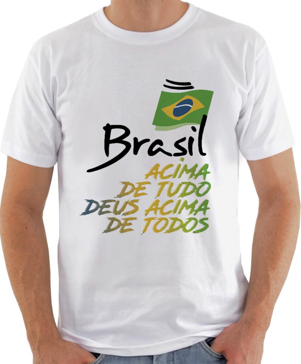 1f1c19126 Camiseta Camisa Frase Brasil acima de tudo deus acima de tod no Elo7 ...