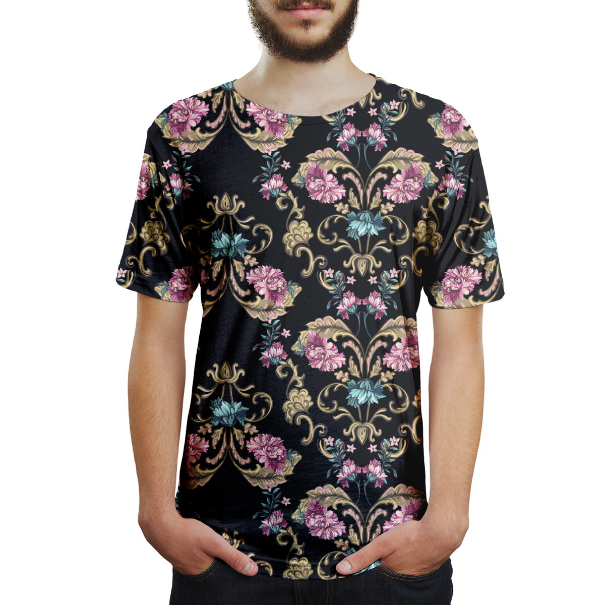 455971b1e Camiseta Masculina Floral Barroco Estampa Digital no Elo7
