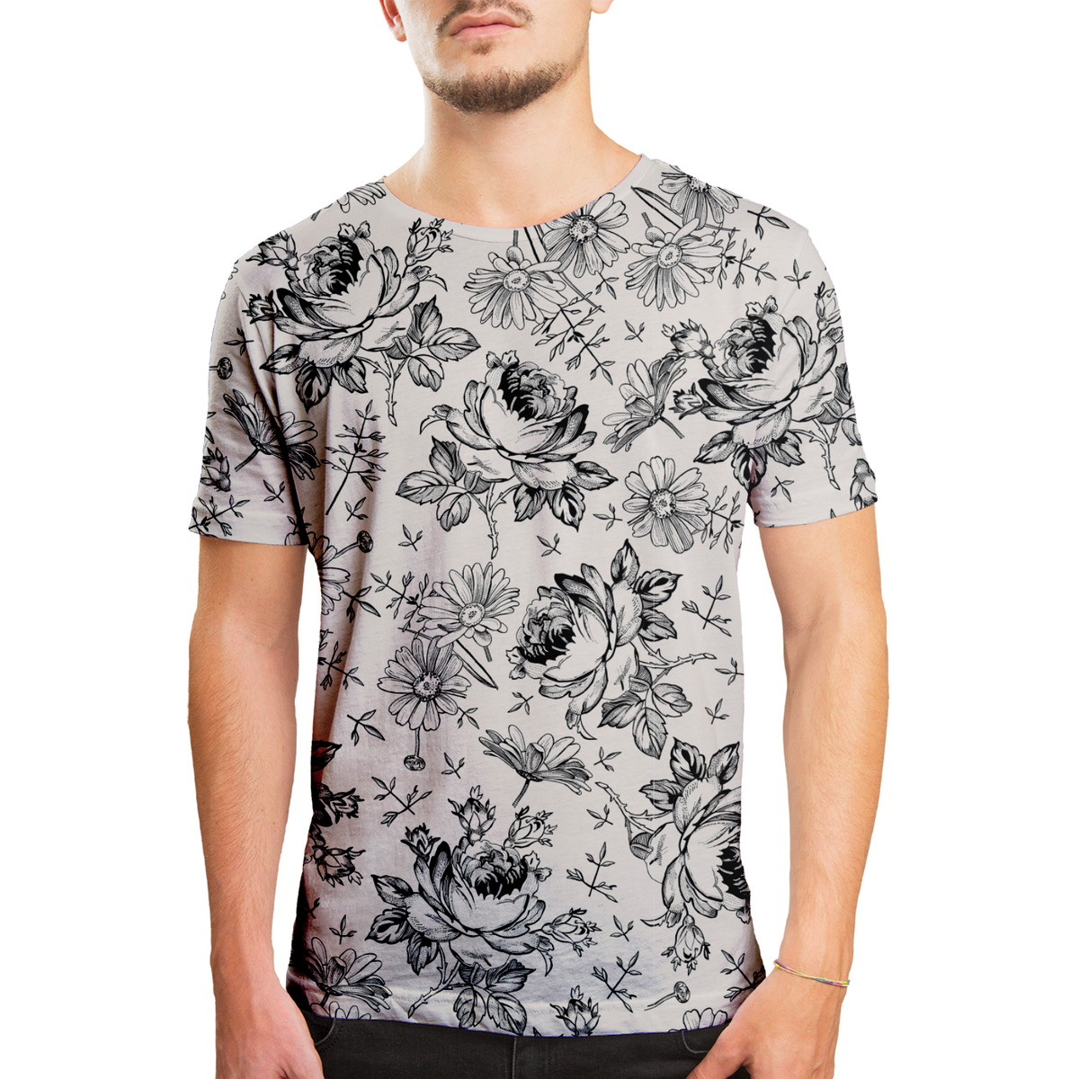 a493f24c2a612 Camiseta Masculina Flores Selvagens Estampa Digital no Elo7   Over ...