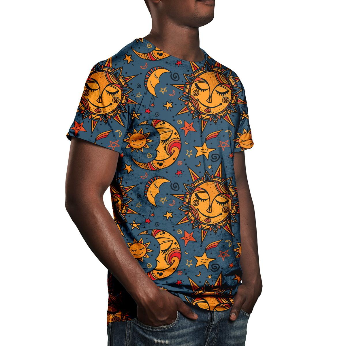 d718c2d7f Camiseta Masculina Sol E Lua Estampa Digital no Elo7