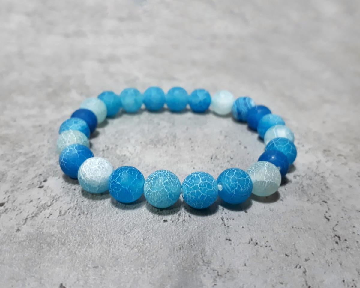7ac30fc45de Pulseira Pedra Ágata Azul Craquelada no Elo7