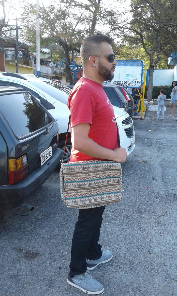 b9f08f054 Bolsa Carteiro Unissex Tecido Estampa Tribal Porta Notebook no Elo7 ...