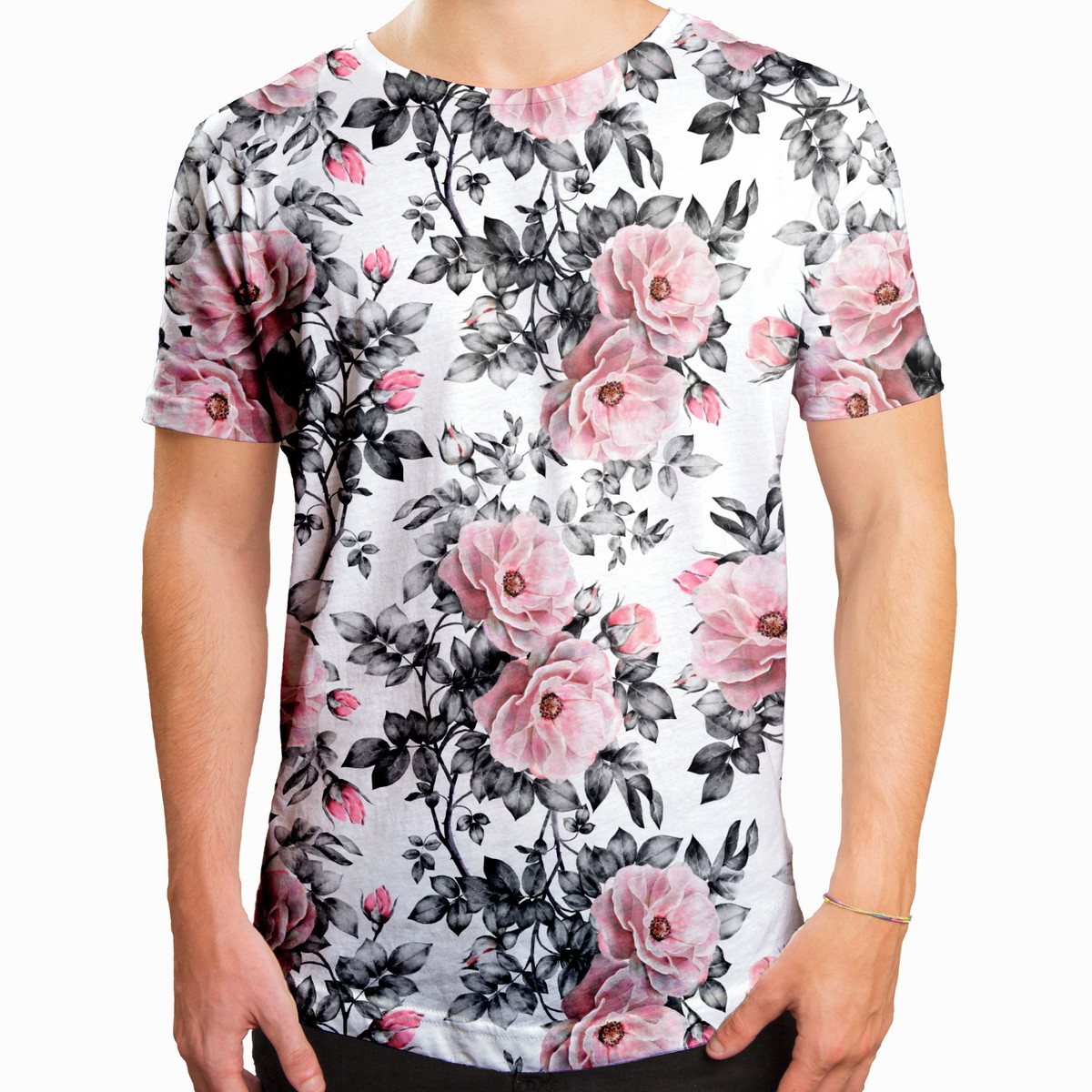 633080ff6 Camiseta Masculina Longline Swag Floral E Folhas no Elo7