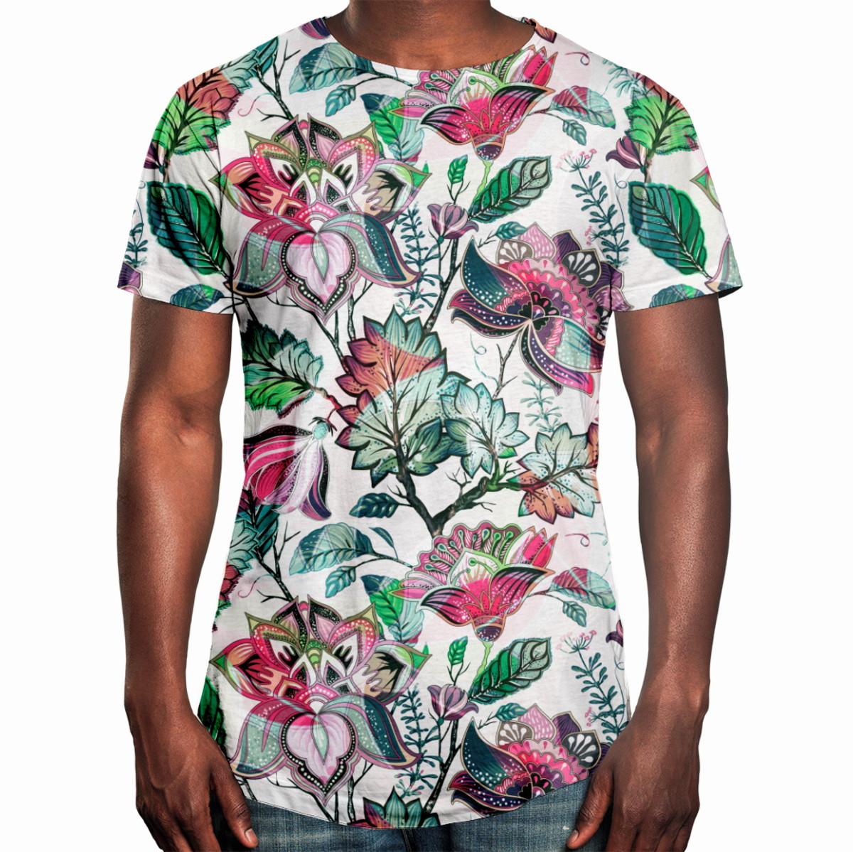 8d83a6487 Camiseta Masculina Longline Swag Floral Jardim Russo no Elo7
