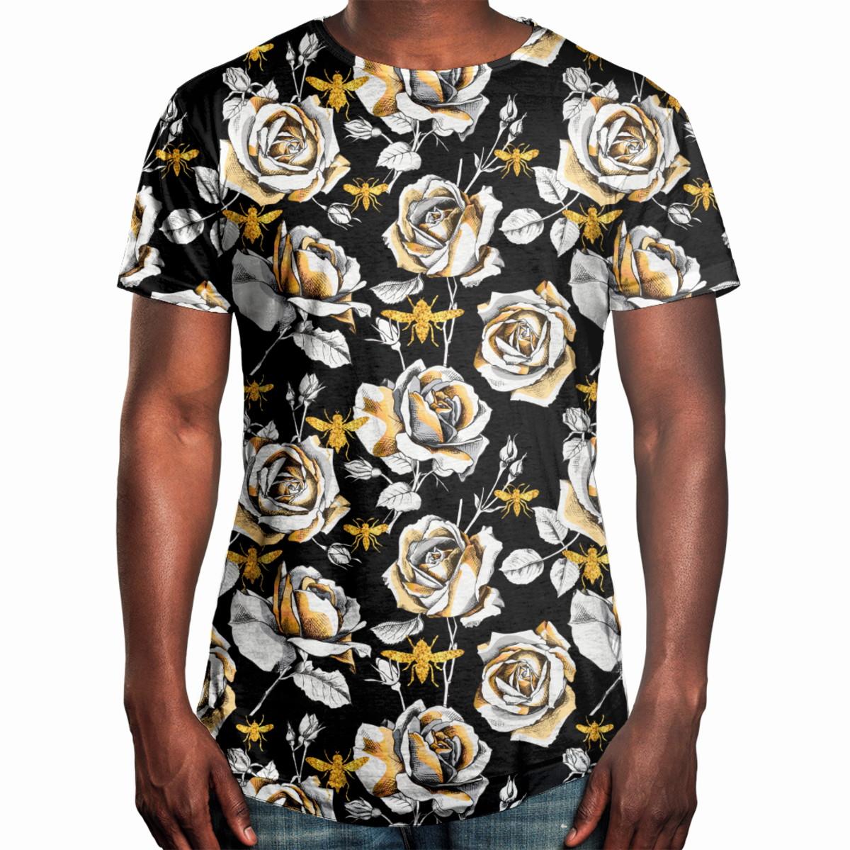 d994b856b Camiseta Masculina Longline Swag Floral Rosas E Abelhas no Elo7 ...
