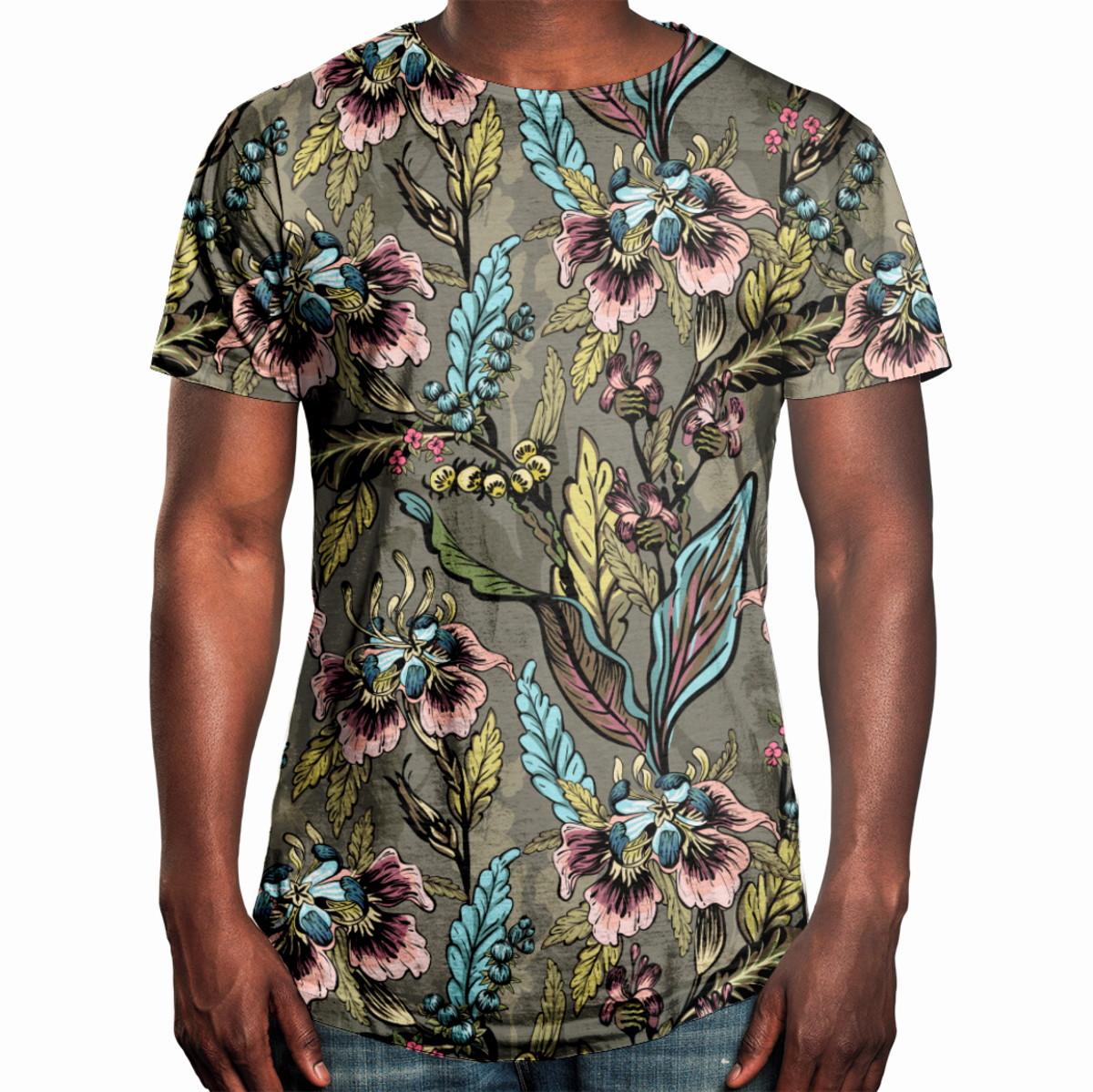 47c326a45 Camiseta Masculina Longline Swag Flores E Folhas no Elo7