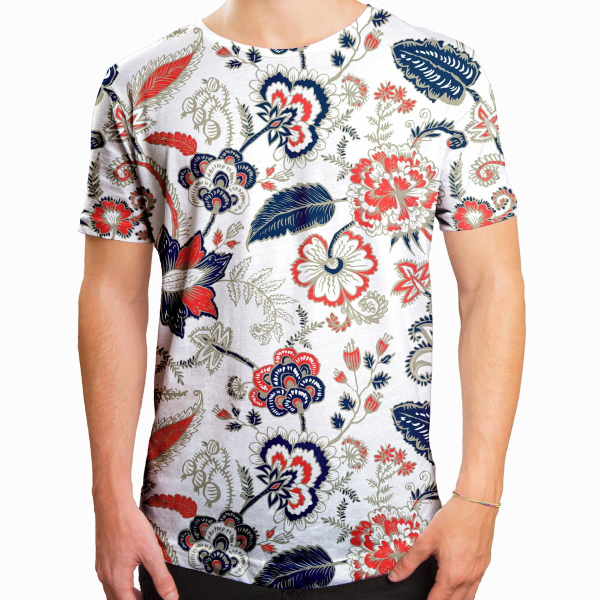 cd1b12e52 Camiseta Masculina Longline Swag Floral Ilustração Curl no Elo7 ...