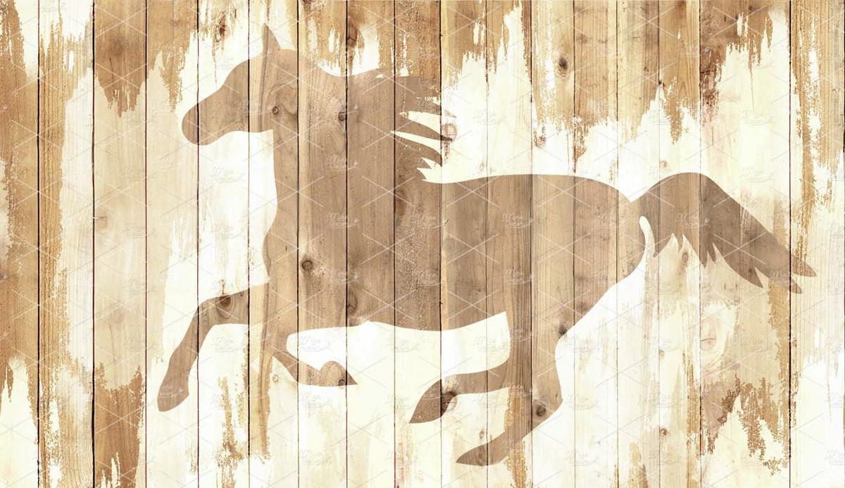 Painel Fundo Madeira Com Cavalo 25x15m No Elo7 Mine Decor