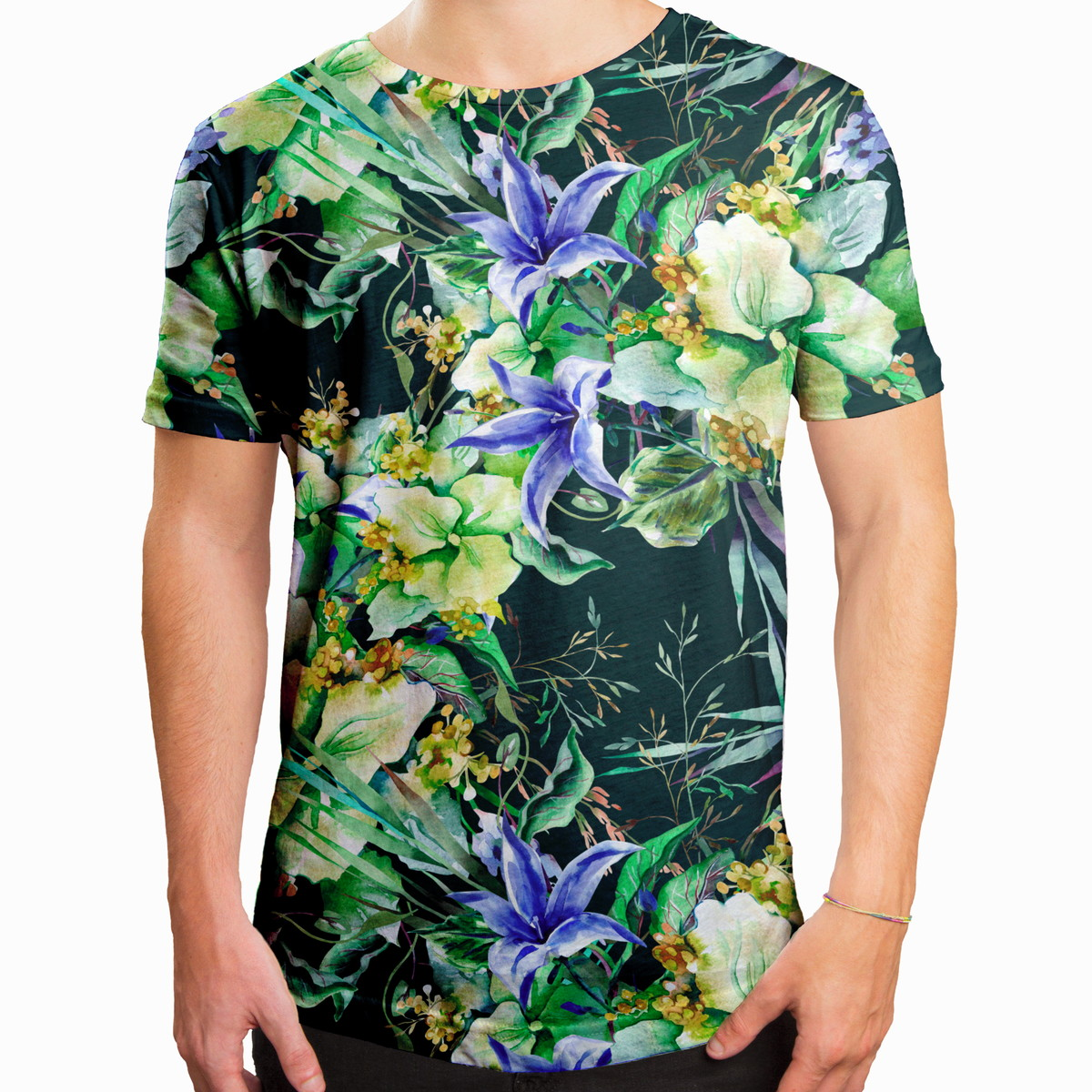 213e87d92 Camiseta Masculina Longline Swag Jardim De Campânula no Elo7