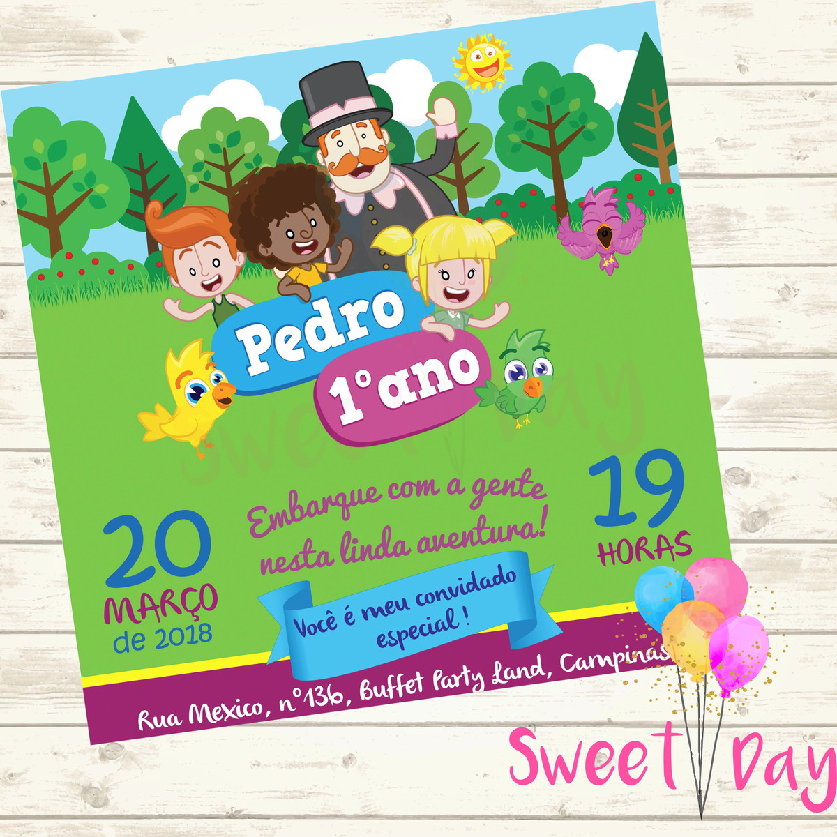 Convite Virtual Mundo Bita No Elo7 Sweet Day D47270