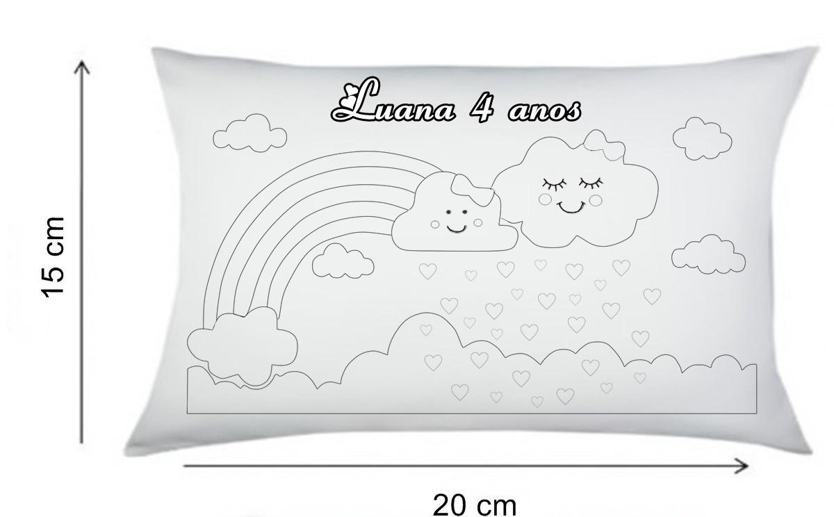 Almofada Para Colorir Chuva De Amor 15x20cm Sem Canetinhas No