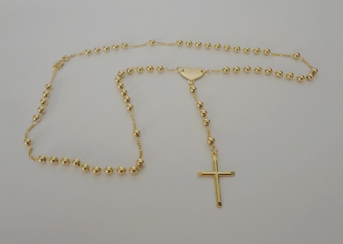 Colar Terço folheado a ouro - Coração Deus e Cruz no Elo7   Pedra do ... 8b67b3f120