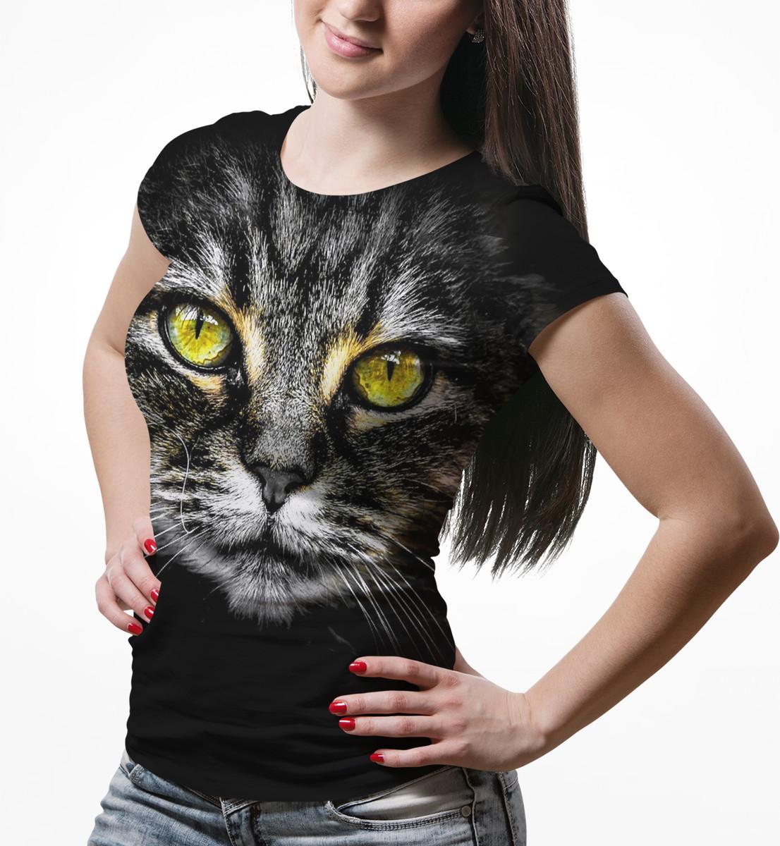3a932bae1a Camiseta Baby Look Feminina Big Face Gato Cinza Total Print no Elo7 ...