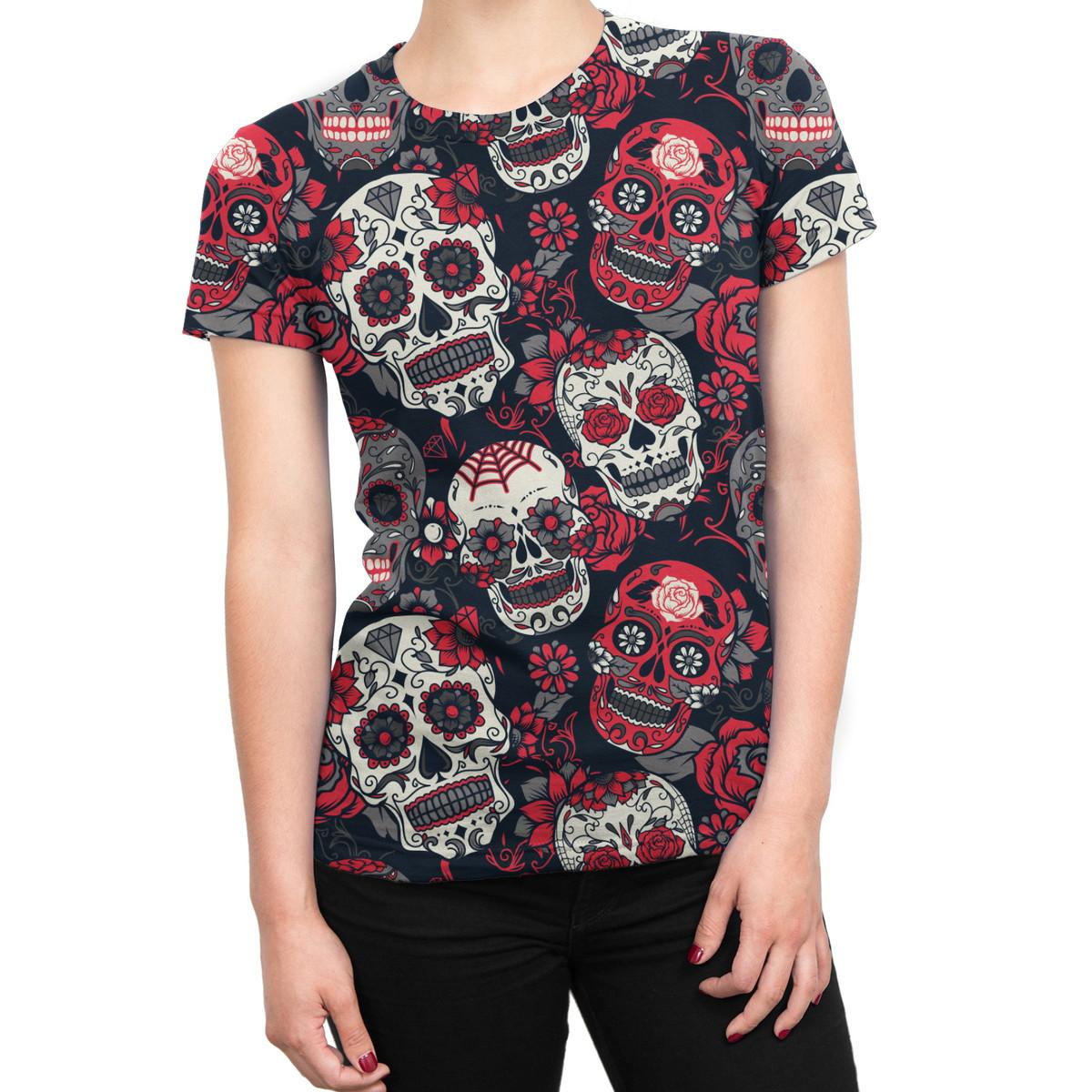 f8d5b3635 Camiseta Baby Look Feminina Caveiras Mexicanas Estampa Total no Elo7 ...