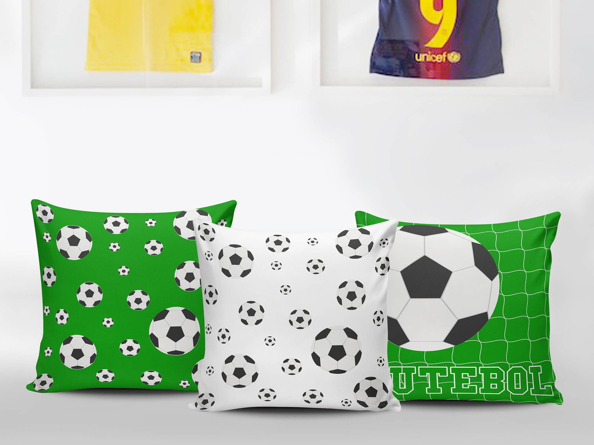 588ccdccc Kit 3 Almofadas Bolas de Futebol - Decoração Quarto Infantil no Elo7 ...