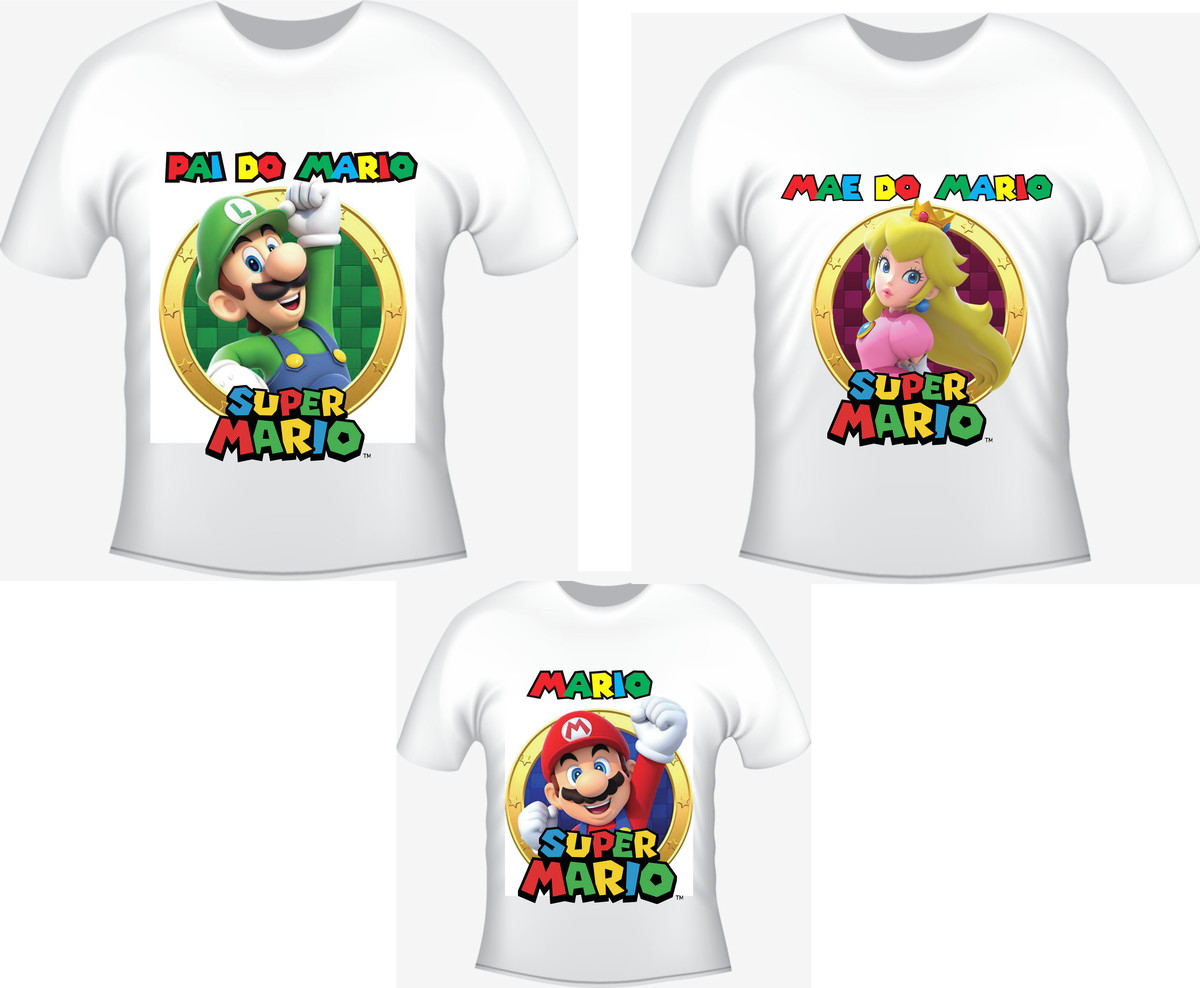 Camiseta Super Mario Kit  03 camisetas - Personalizada no Elo7 ... 76f0e184ecfb1
