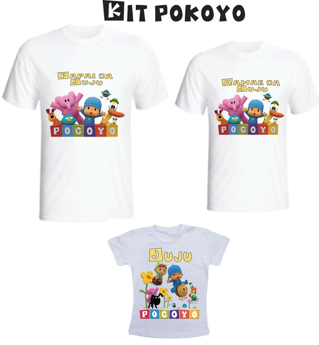 Camiseta Pocoyo Kit  03 camisetas - Personalizada no Elo7  c6f25d3c94929