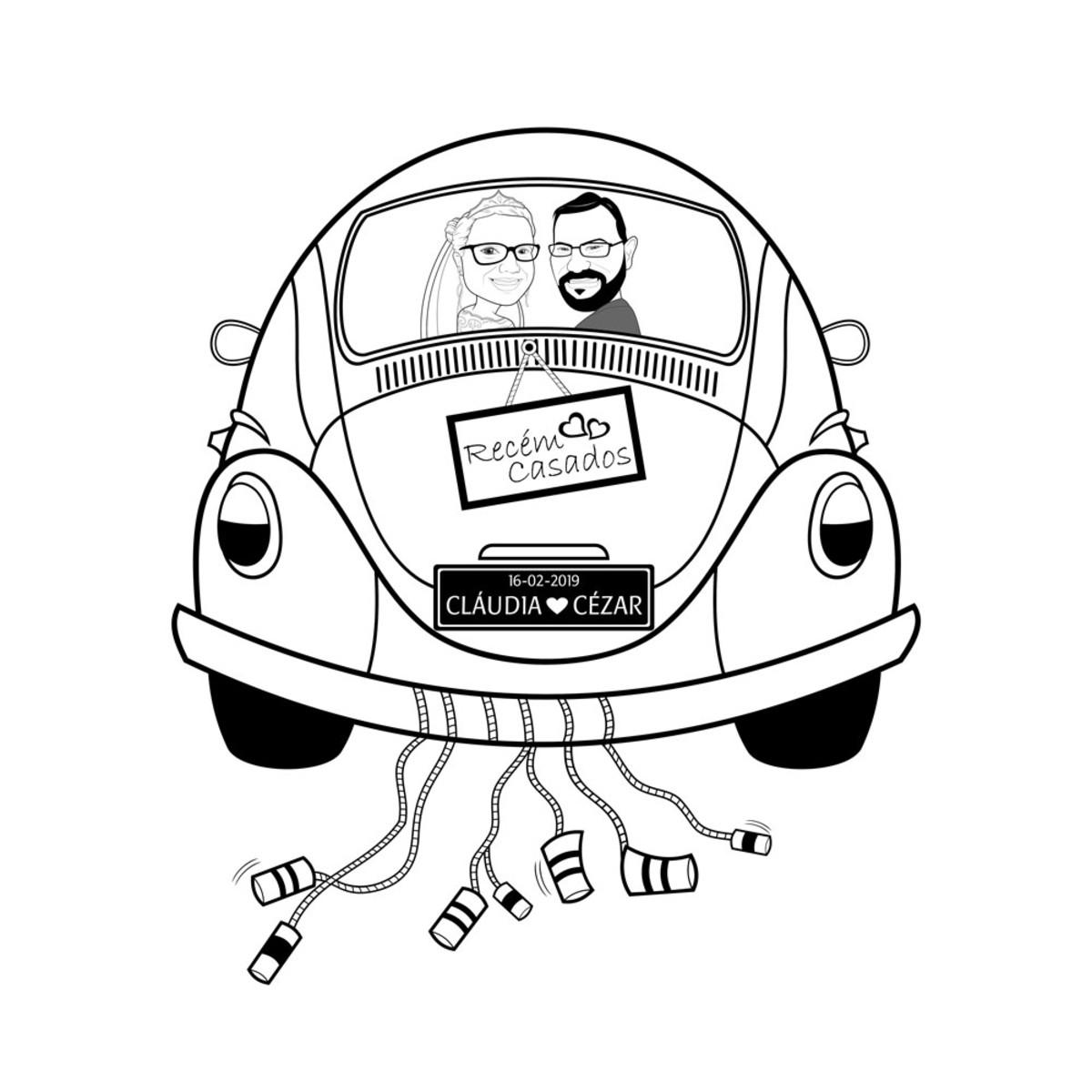 Caricatura De Noivos Veiculo Preto E Branco No Elo7 Luis