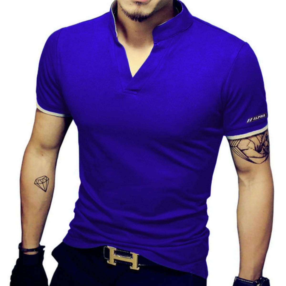 2e20df022 Camiseta Masculina Decote V com elastano slim fit no Elo7