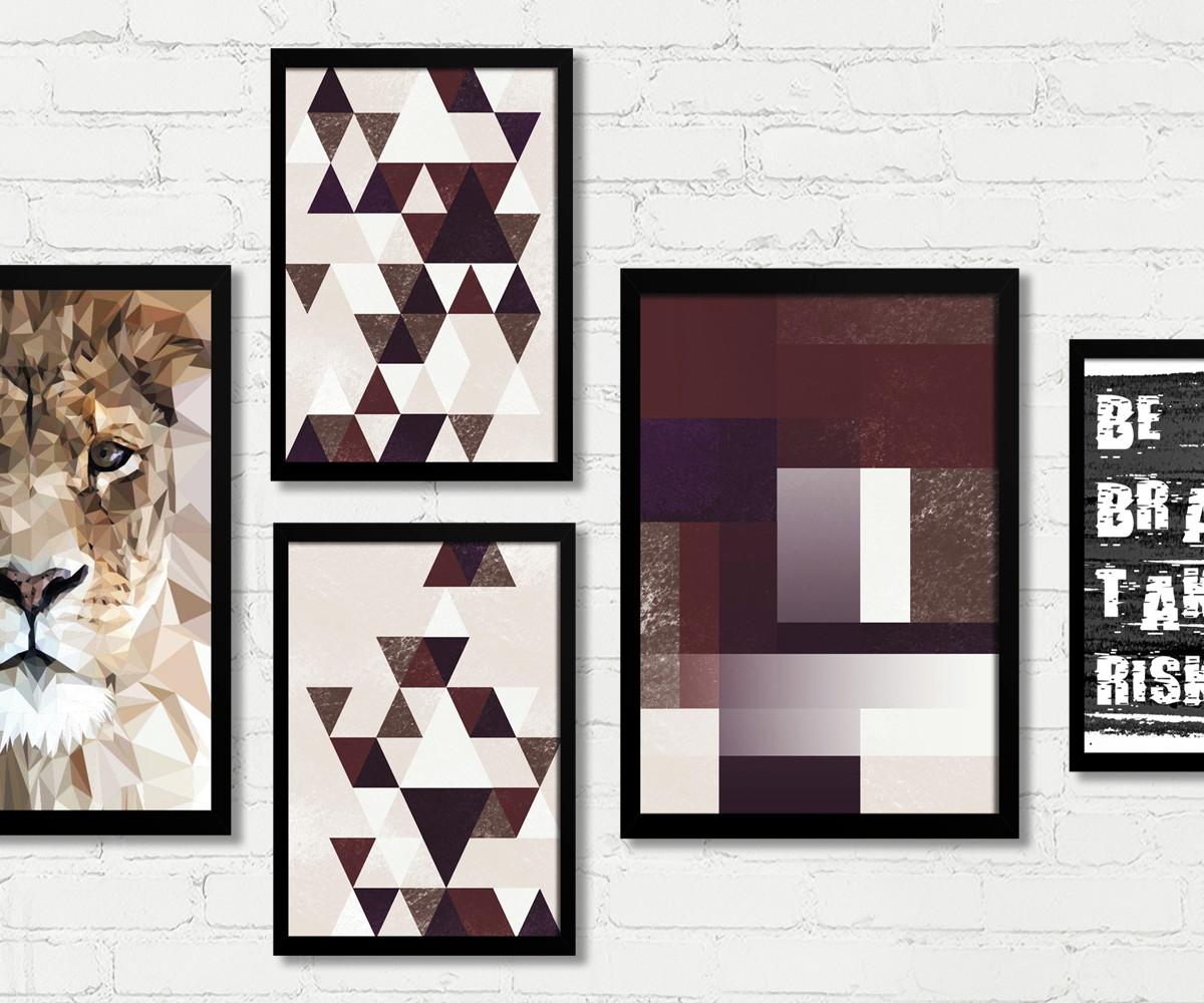 8fef60c7d Conjunto Quadros Decorativos Geométricos Leão Be Brave M20C no Elo7 ...
