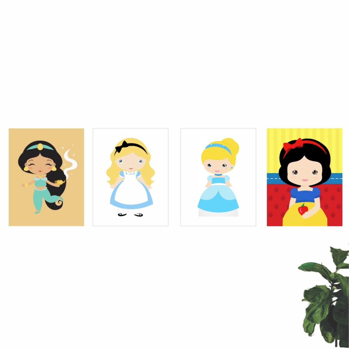 Kit 4 Quadros Infantis Princesas Disney Desenho 40x30 Qp1827 No