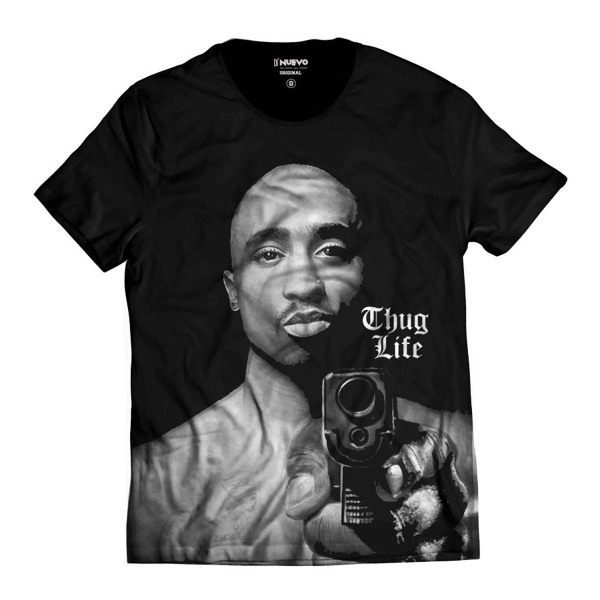 f52f1d484a023 Camiseta Tupac Shakur Gangster Thug Life Hip Hop 2Pac no Elo7