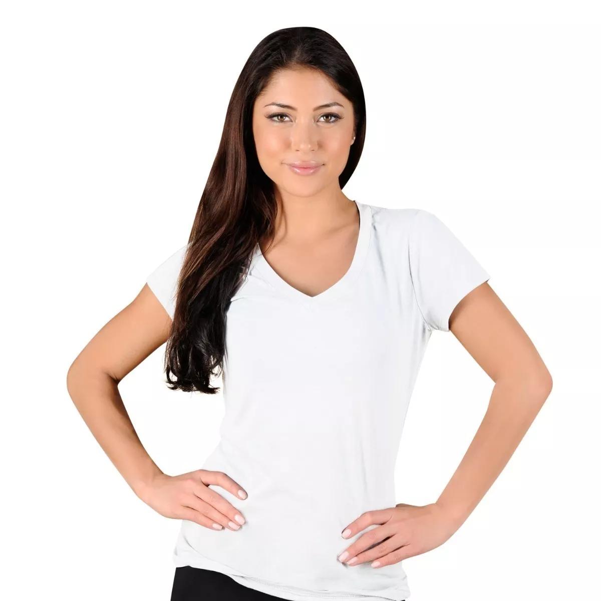724a3ee400 Camiseta Feminina Gola V Algodão Sem Estampa Fio 30.1 Branca no Elo7 ...