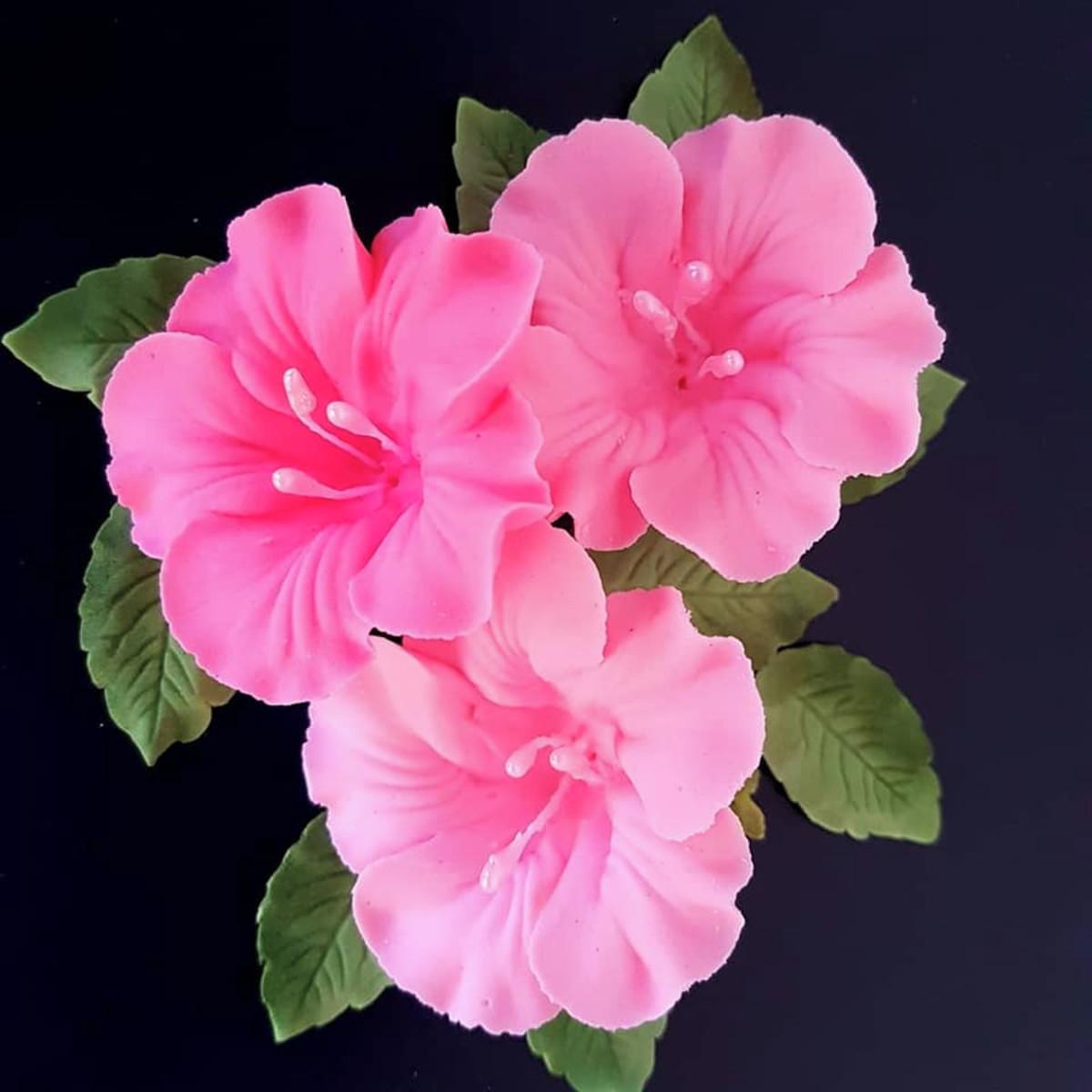 899d82a1 Flor de açúcar azaléia rosa pct c/3 un (comestível) no Elo7 ...
