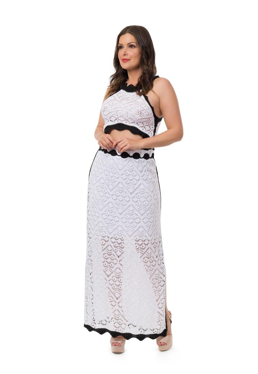 d932575773 Conjunto Cropped Saia Longa Tricot Branco Frete Grátis 05033 no Elo7 ...