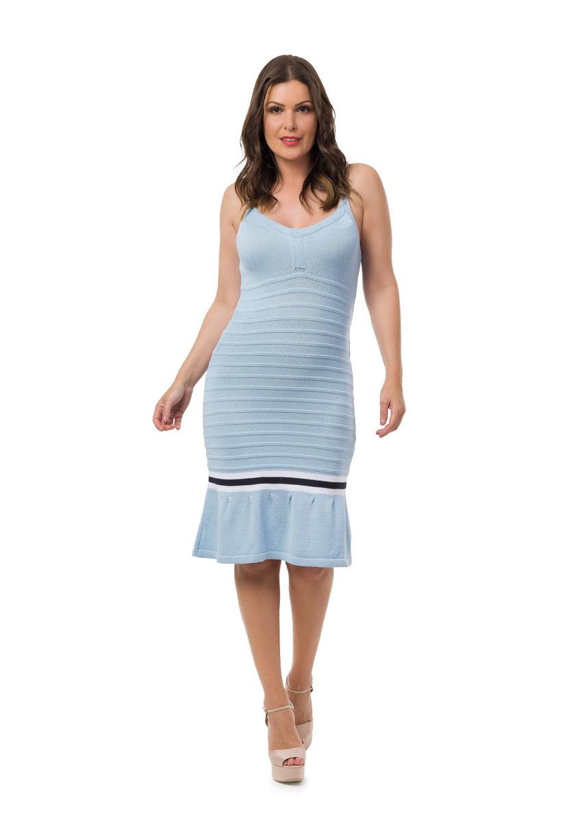 ed1a220a8a Vestido Curto Tricot Evasê Colegial Alças Azul Claro 05029 no Elo7 ...