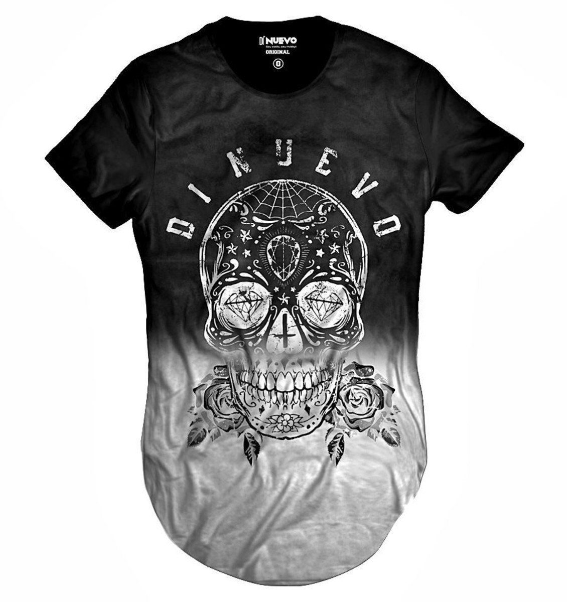 4484c139e7 Camiseta Longa Caveira Mexicana Preta e Branca com Flor Swag no Elo7 ...