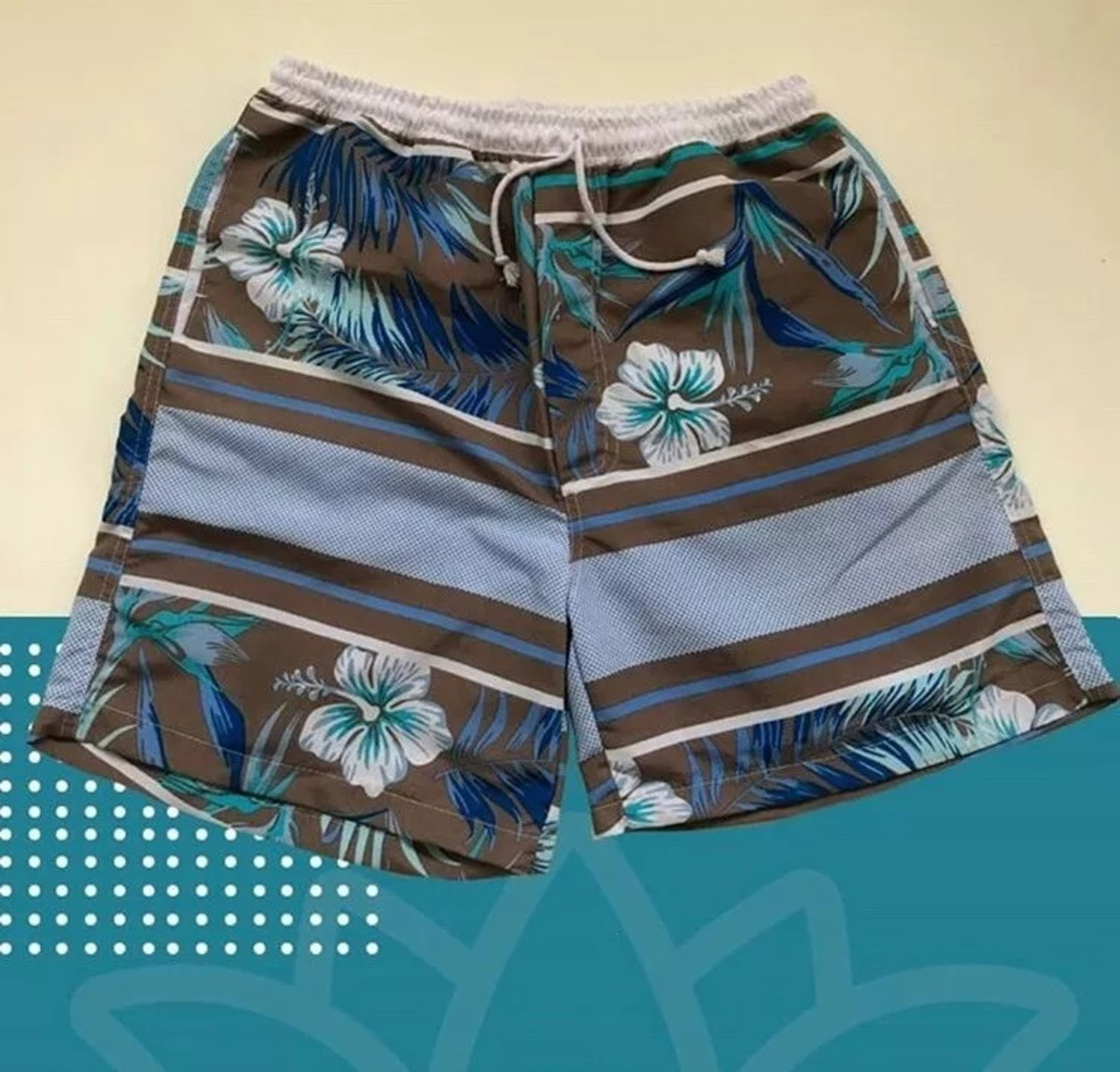 2225f4be0 Short Masculino Estampado Floral Blue Tactel Praia Bermuda no Elo7 ...