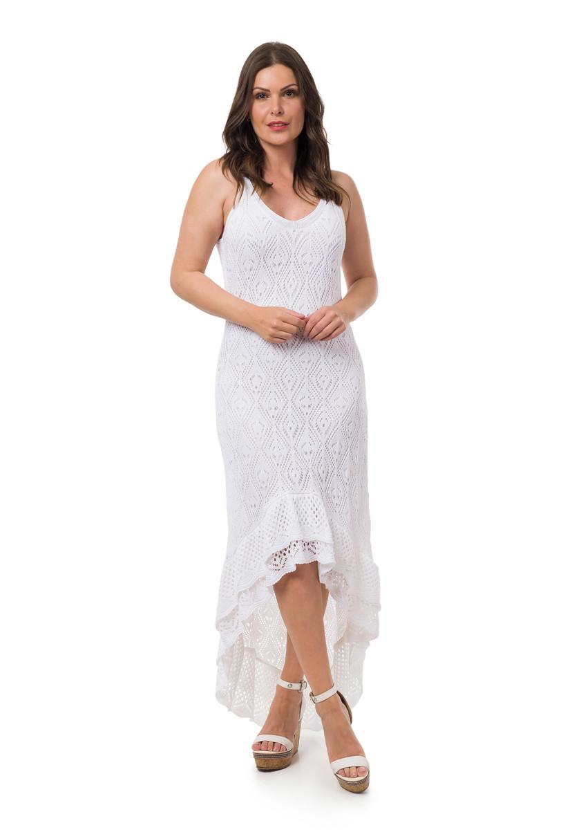 5d909e0b4e Vestido Longo Tricot Espanhola Feminino Branco 05052 no Elo7