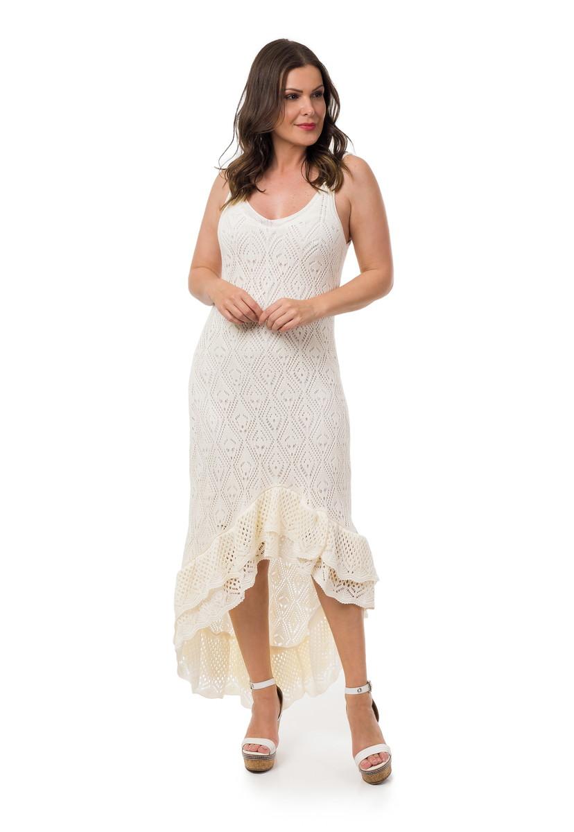 b1da8941b Vestido Longo Tricot Espanhola Feminino Off White 05052 no Elo7 ...