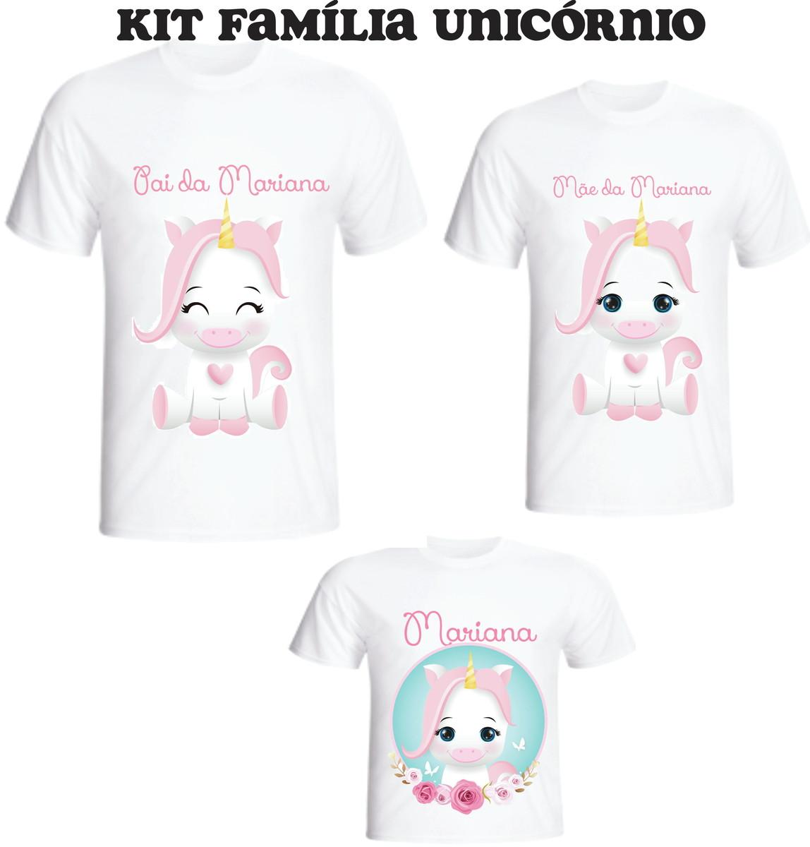 Camiseta Unicórnio Fofo Kit 03 camisetas - Personalizada no Elo7 ... 6dc61f8f11f05