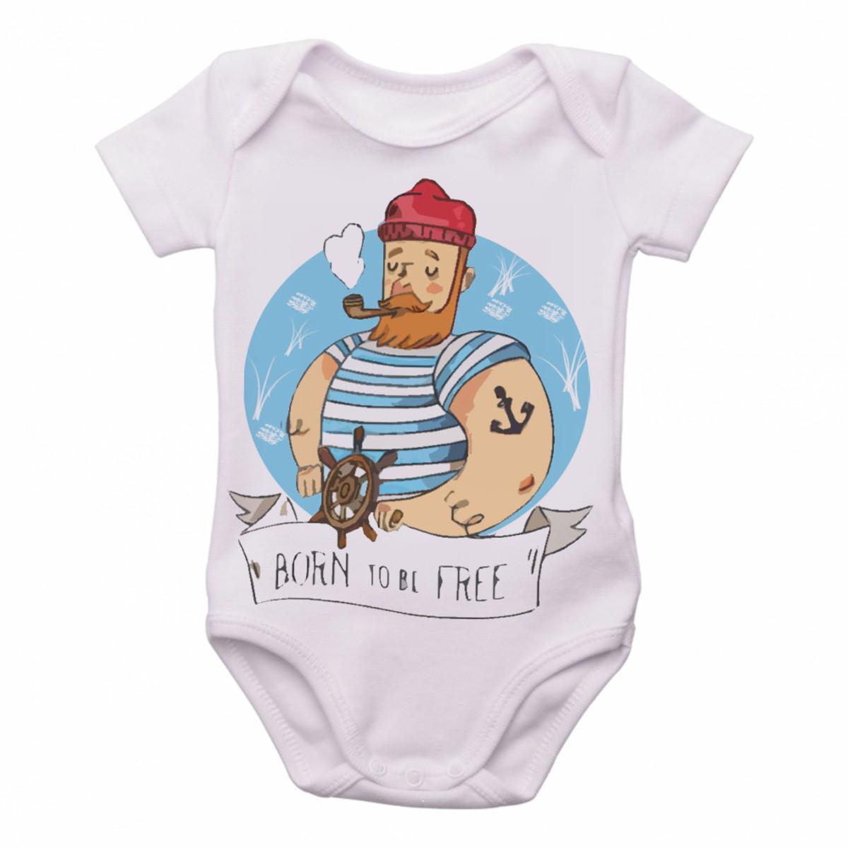 65fd994b38 Body Bebê Roupa Infantil Marinheiro born to be free pirata no Elo7 ...