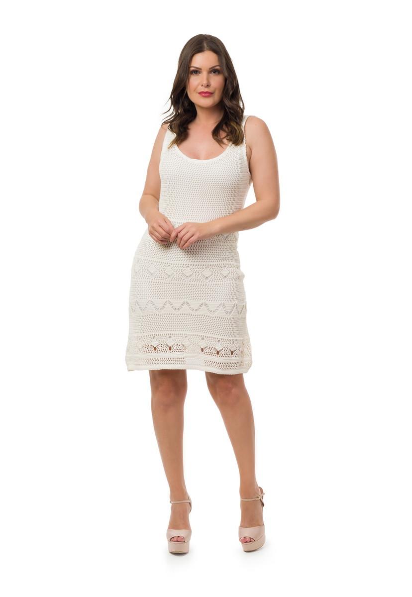 7fb4e91dd Vestido Curto Tricot Alças Decote V Feminino Off White 05057 no Elo7 ...