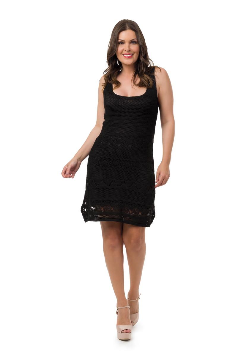 25fe979207 Vestido Curto Tricot Alças Decote V Feminino Preto 05057 no Elo7 ...