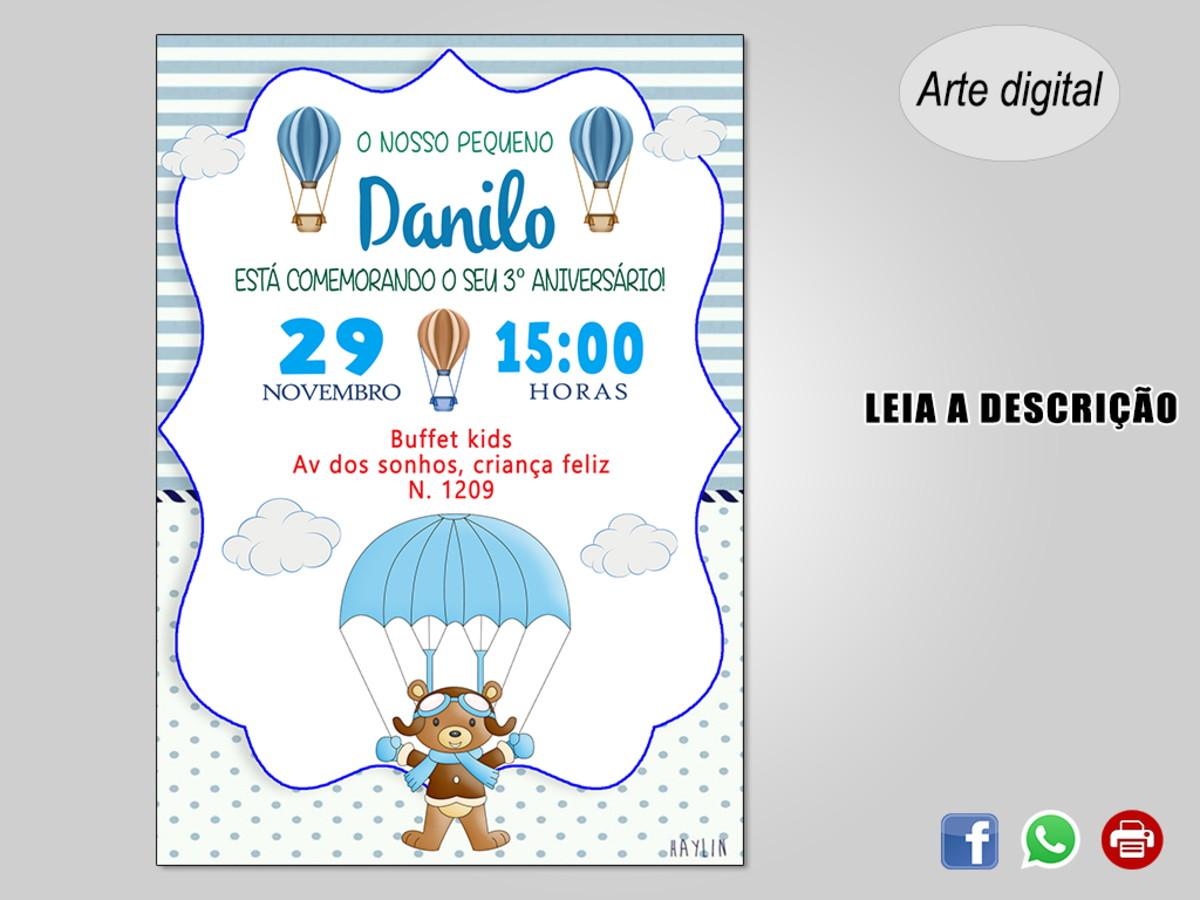 Convite Ursinho Baloeiro Digital No Elo7 Ideias Em Artes D67e6f