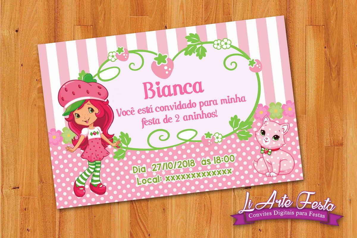 Convite Moranguinho Arte Digital Lacre Envelope Gratis No Elo7